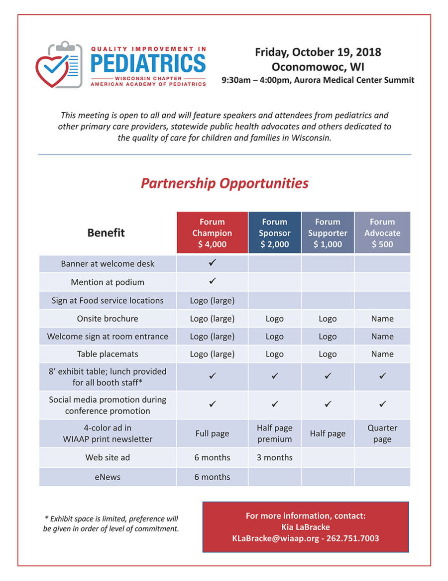 Quality Improvement in Pediatrics: Event Support and Sponsorship 2018