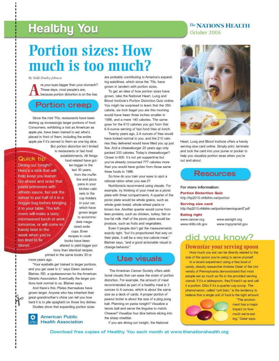 Portion Sizes: How Much is Too Much?
