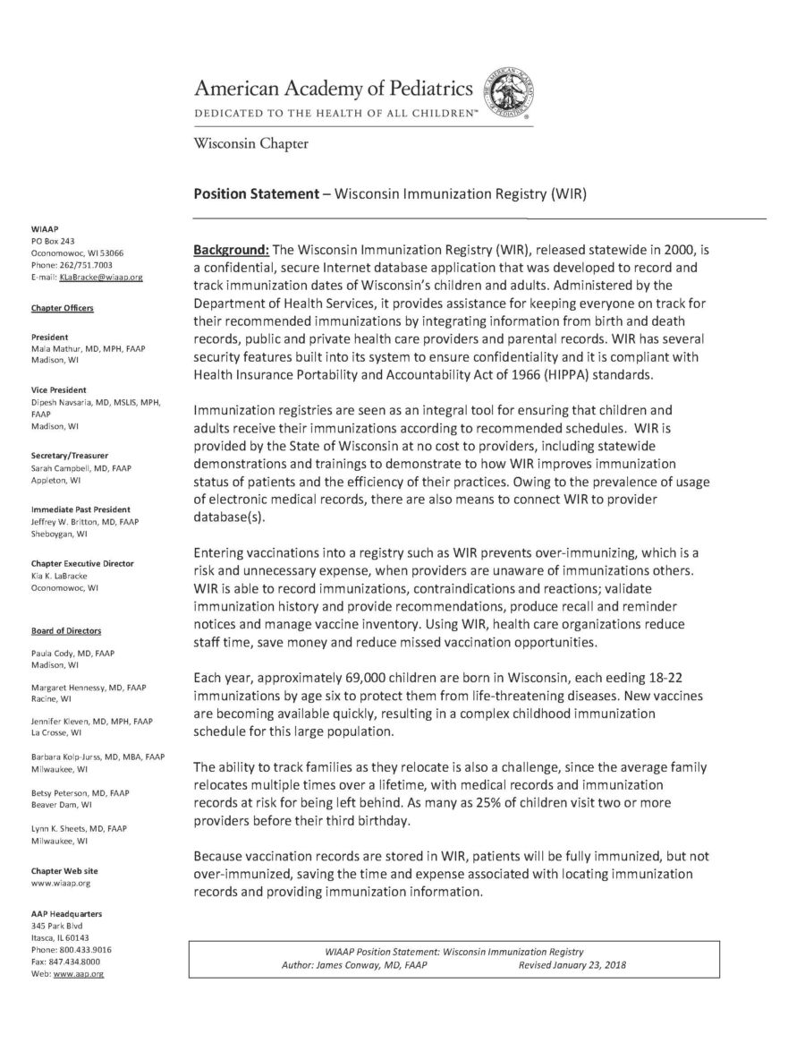 Position Statement:<br> Wisconsin Immunization Registry