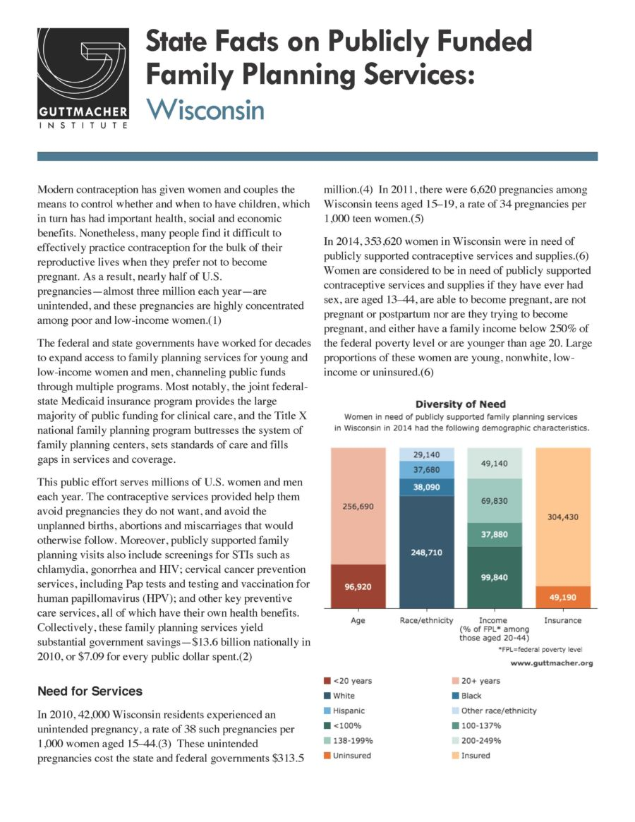 WI State Facts on Publicly Funded Family Planning Services