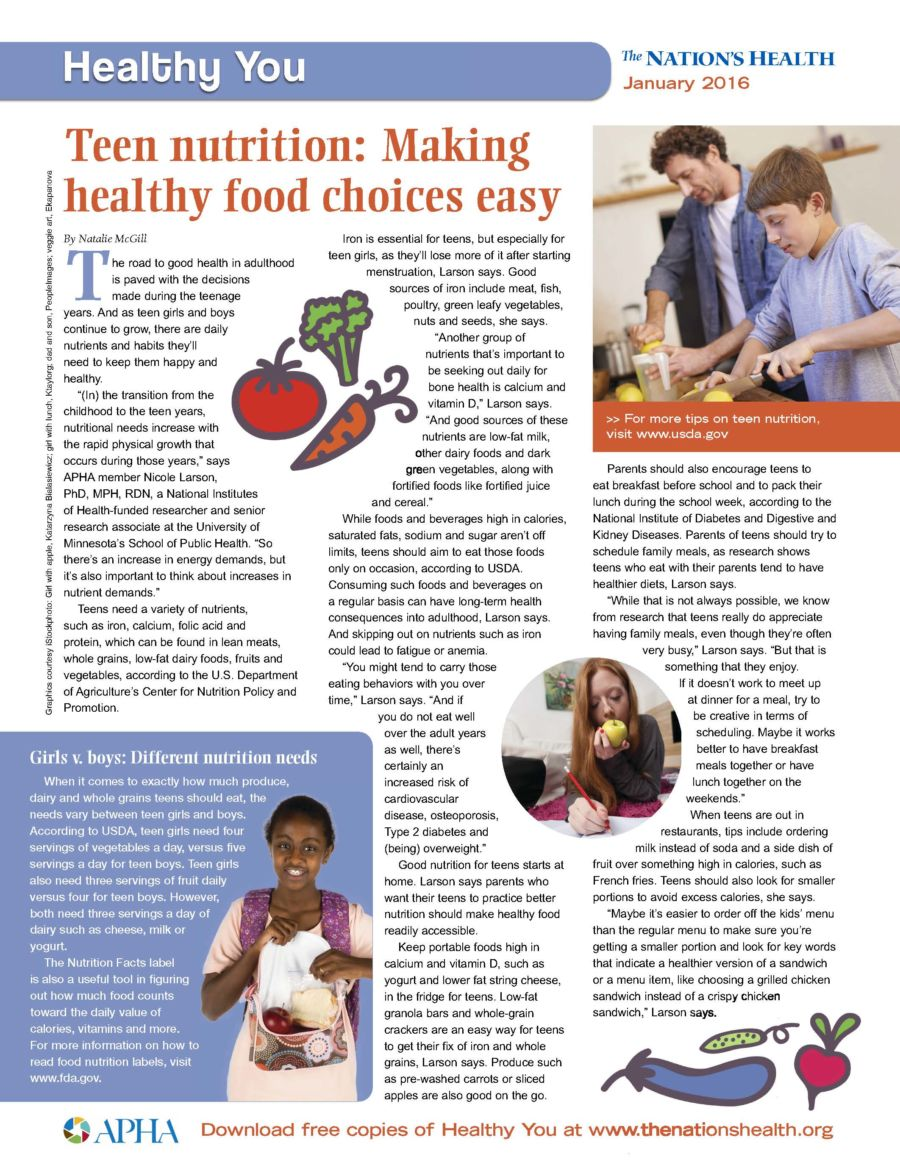 Making Health Food Choices Easy: Teen Nutrition